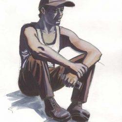 Croquis couleur homme assis