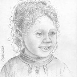 Portrait au crayon de petite fille