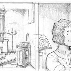 Gillion priant dans la chapelle de Trazegnies
