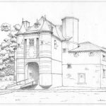 Dessin du château de Trazegnies