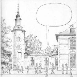 Dessin de la tour de Trazegnies